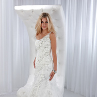 Wedding Dresses, One-Shoulder Wedding Dresses, A-line Wedding Dresses, Fashion, Feathers, A-line, Beading, Impression bridal, One-shoulder, Beaded Wedding Dresses, beaded strap, Feather Wedding Dresses