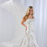 Wedding Dresses, One-Shoulder Wedding Dresses, A-line Wedding Dresses, Fashion, A-line, Satin, Rosettes, Impression bridal, One-shoulder, ruffle skirt, pleated bodice, floral strap, satin wedding dresses