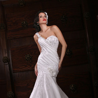 Wedding Dresses, One-Shoulder Wedding Dresses, Fashion, Beading, Impression bridal, One-shoulder, dropped waist, Beaded Wedding Dresses
