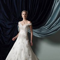 Wedding Dresses, A-line Wedding Dresses, Fashion, A-line, Off the shoulder, V-neck, V-neck Wedding Dresses, Satin, Embroidery, James clifford collection, chapel train, crystal beading, Off the Shoulder Wedding Dresses, satin wedding dresses