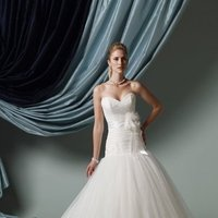 Wedding Dresses, Ball Gown Wedding Dresses, Fashion, Strapless, Strapless Wedding Dresses, Natural waist, Ruching, James clifford collection, Ball gown, chapel train, 3D flower, dotted tulle