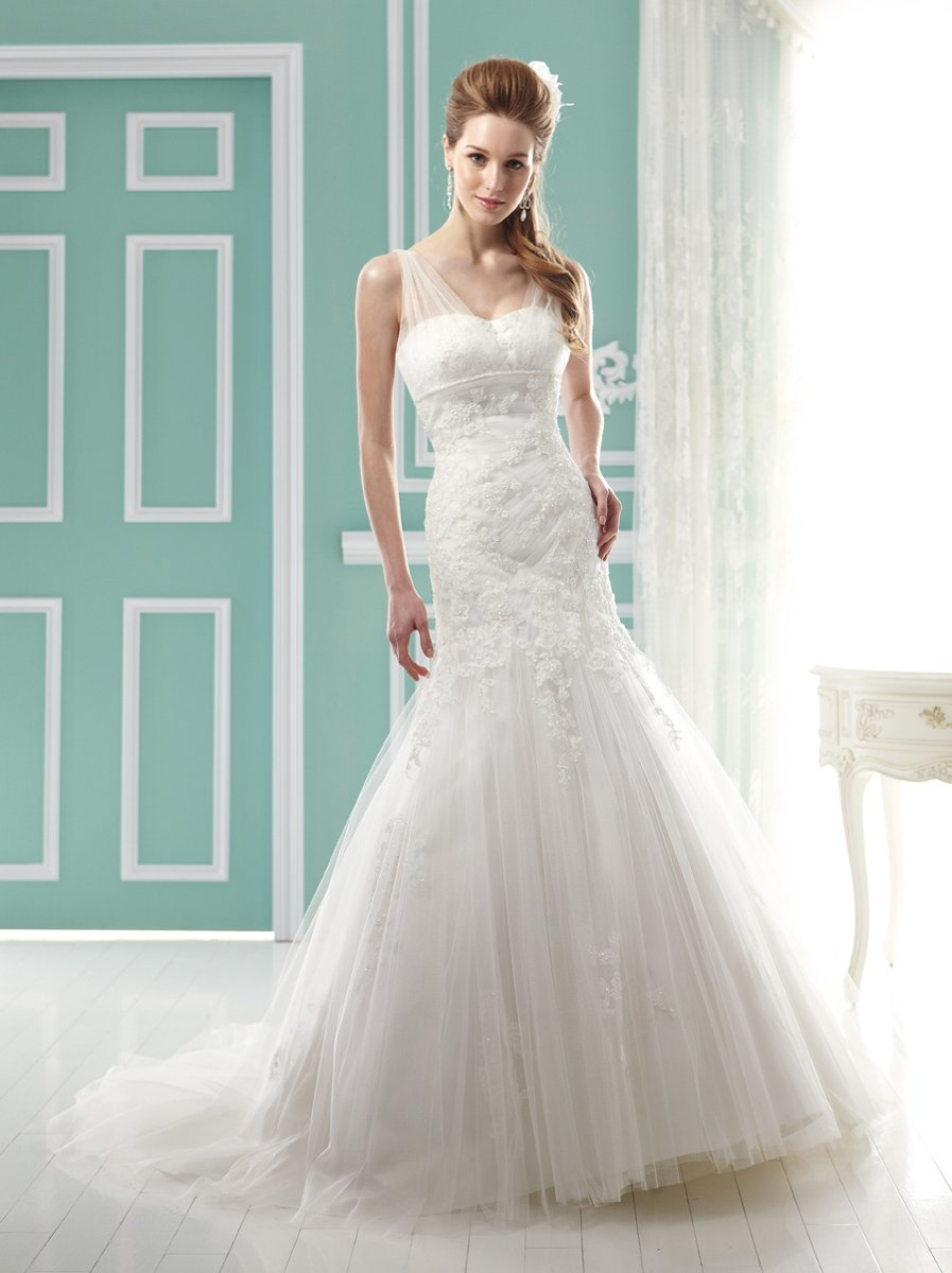 Wedding Dresses, Illusion Neckline Wedding Dresses, Mermaid Wedding Dresses, Lace Wedding Dresses, Fashion, ivory, Modern, Lace, Empire, V-neck, V-neck Wedding Dresses, Floor, Illusion, Pleats, Jasmine collection, Mermaid/Trumpet, Fit-n-Flare, illusion sleeves, Modern Wedding Dresses, trumpet wedding dresses, Floor Wedding Dresses