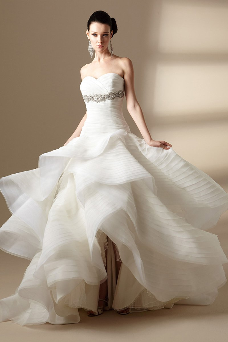 Wedding Dresses, Sweetheart Wedding Dresses, Ball Gown Wedding Dresses, Romantic Wedding Dresses, Fashion, ivory, Fall, Winter, Romantic, Sweetheart, Strapless, Strapless Wedding Dresses, Floor, Formal, Organza, Natural, Tiers, Sleeveless, Ball gown, Jasmine collection, Avant-Garde, organza wedding dresses, winter wedding dresses, Fall Wedding Dresses, Formal Wedding Dresses, Floor Wedding Dresses, Tiered Wedding Dresses