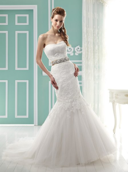 Wedding Dresses, Sweetheart Wedding Dresses, Mermaid Wedding Dresses, Lace Wedding Dresses, Fashion, white, ivory, Modern, Lace, Sweetheart, Strapless, Strapless Wedding Dresses, Tulle, Floor, Formal, Pleats, Sleeveless, Jasmine collection, Mermaid/Trumpet, Sash/Belt, Fit-n-Flare, Modern Wedding Dresses, trumpet wedding dresses, tulle wedding dresses, Formal Wedding Dresses, Floor Wedding Dresses, Sash Wedding Dresses, Belt Wedding Dresses