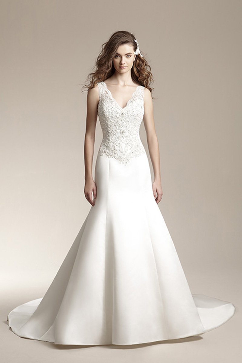 Wedding Dresses, Mermaid Wedding Dresses, Lace Wedding Dresses, Fashion, ivory, Fall, Winter, Modern, Lace, Beading, V-neck, V-neck Wedding Dresses, Tulle, Satin, Floor, Formal, Dropped, Modest, Sleeveless, Jasmine collection, Fit-n-Flare, Modern Wedding Dresses, Beaded Wedding Dresses, tulle wedding dresses, winter wedding dresses, satin wedding dresses, Fall Wedding Dresses, Formal Wedding Dresses, Floor Wedding Dresses, Modest Wedding Dresses