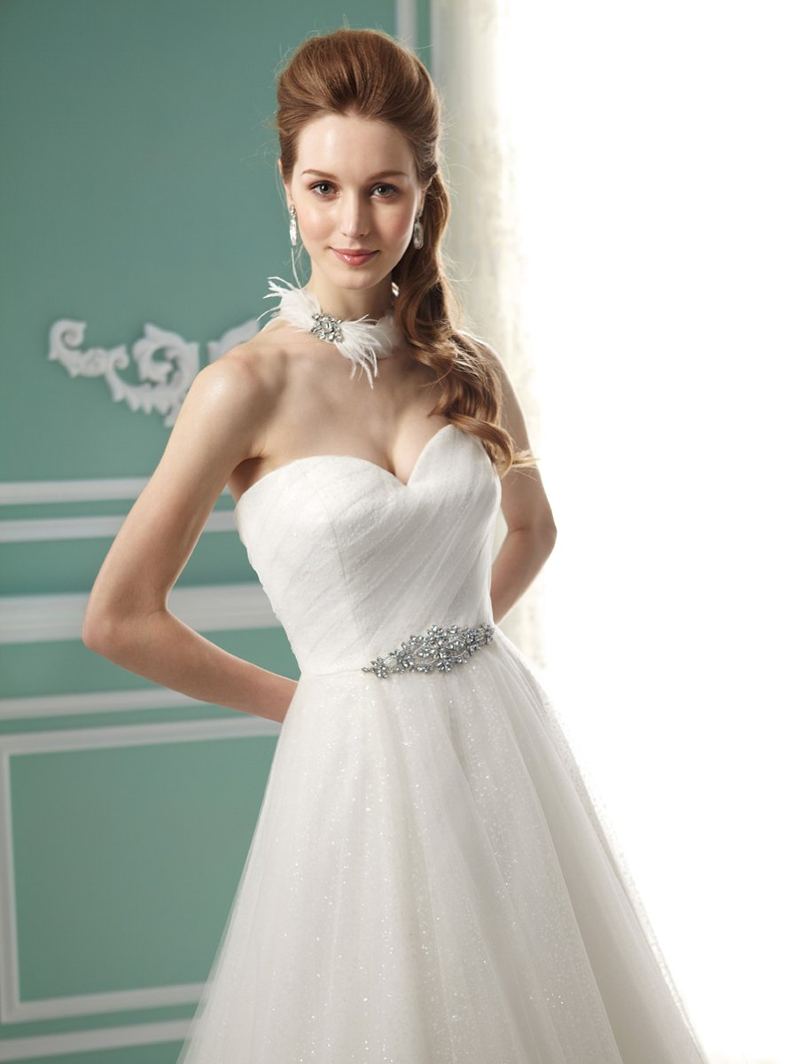 Wedding Dresses, Sweetheart Wedding Dresses, A-line Wedding Dresses, Romantic Wedding Dresses, Fashion, white, ivory, Romantic, Sweetheart, Strapless, Strapless Wedding Dresses, A-line, Beading, Tulle, Floor, Formal, Pleats, Sleeveless, Jasmine collection, Beaded Wedding Dresses, tulle wedding dresses, Formal Wedding Dresses, Floor Wedding Dresses