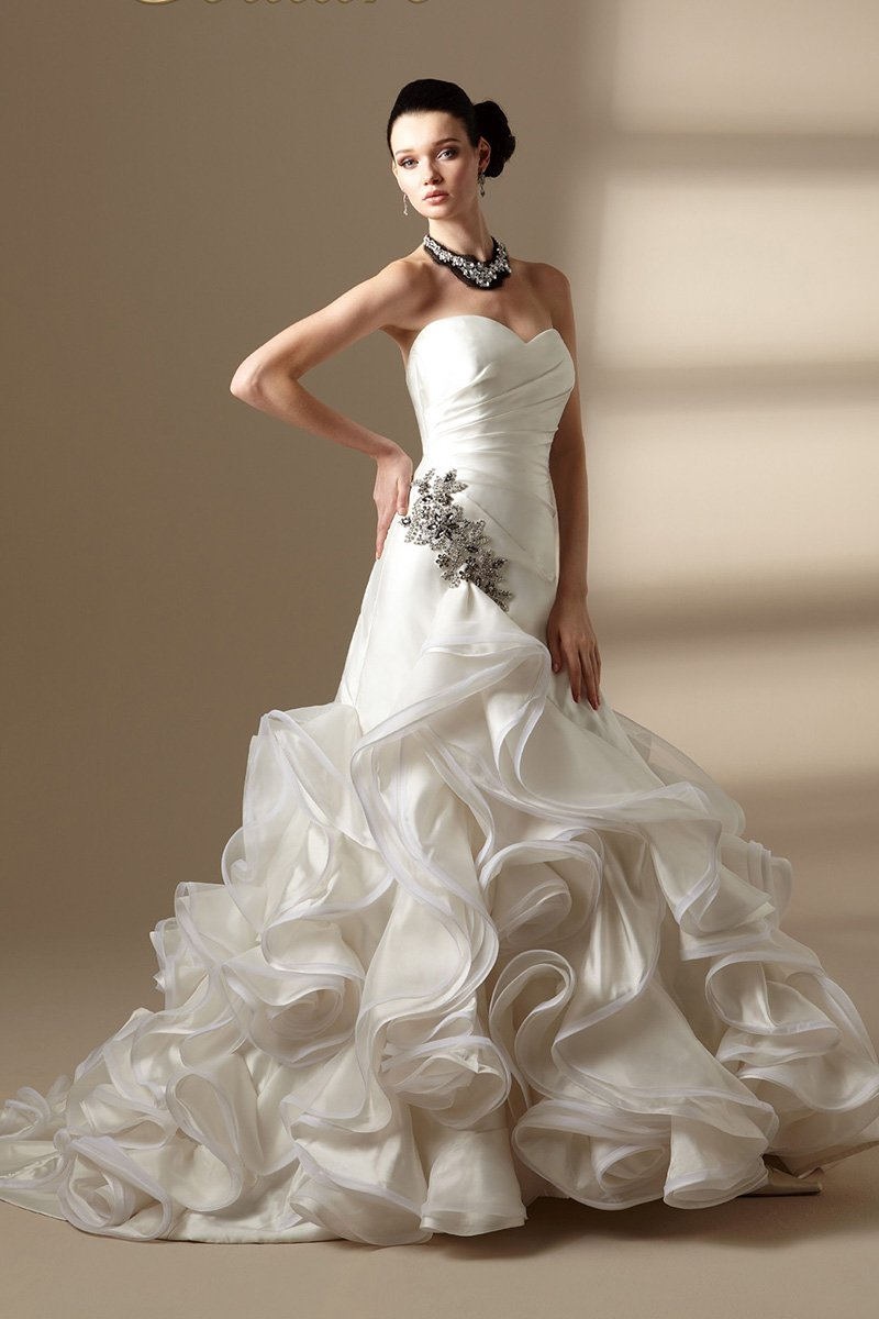 Wedding Dresses, Sweetheart Wedding Dresses, Mermaid Wedding Dresses, Romantic Wedding Dresses, Fashion, ivory, Fall, Winter, Shabby Chic, Romantic, Sweetheart, Strapless, Strapless Wedding Dresses, Floor, Organza, Dropped, Taffeta, Sleeveless, Ruching, Jasmine collection, Avant-Garde, Mermaid/Trumpet, organza wedding dresses, taffeta wedding dresses, trumpet wedding dresses, winter wedding dresses, Fall Wedding Dresses, Floor Wedding Dresses, Shabby Chic Wedding Dresses