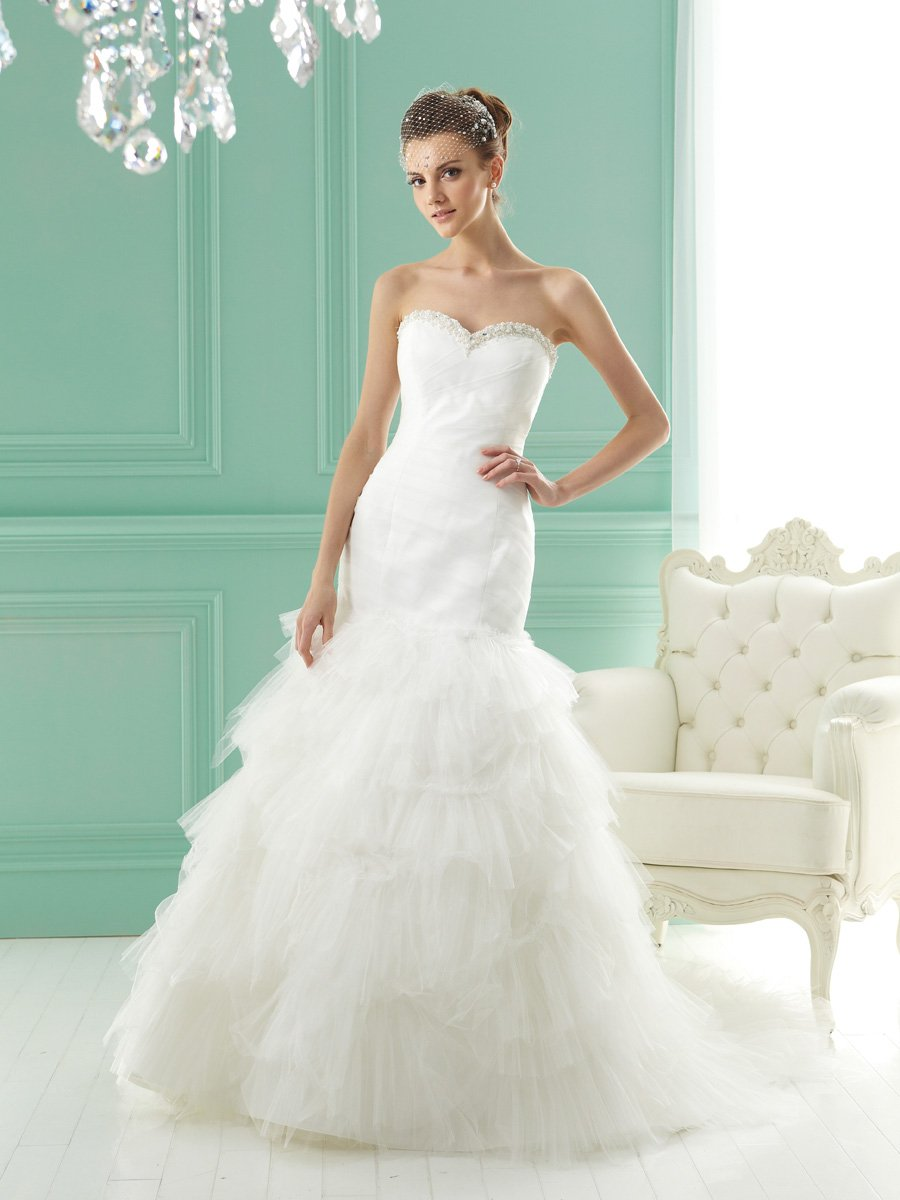 Wedding Dresses, Sweetheart Wedding Dresses, Mermaid Wedding Dresses, Ruffled Wedding Dresses, Fashion, white, ivory, Modern, Sweetheart, Strapless, Strapless Wedding Dresses, Beading, Floor, Formal, Ruffles, Tiers, Pleats, Sleeveless, Jasmine collection, Mermaid/Trumpet, Fit-n-Flare, Modern Wedding Dresses, Beaded Wedding Dresses, trumpet wedding dresses, Formal Wedding Dresses, Floor Wedding Dresses, Tiered Wedding Dresses