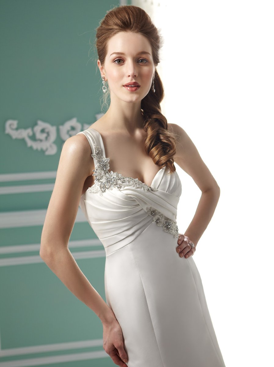Wedding Dresses, Sweetheart Wedding Dresses, Mermaid Wedding Dresses, Vintage Wedding Dresses, Fashion, white, ivory, Vintage, Classic, Sweetheart, Beading, Empire, Satin, Floor, Organza, Pleats, Sleeveless, Jasmine collection, Mermaid/Trumpet, Beaded Wedding Dresses, organza wedding dresses, trumpet wedding dresses, Classic Wedding Dresses, satin wedding dresses, Floor Wedding Dresses