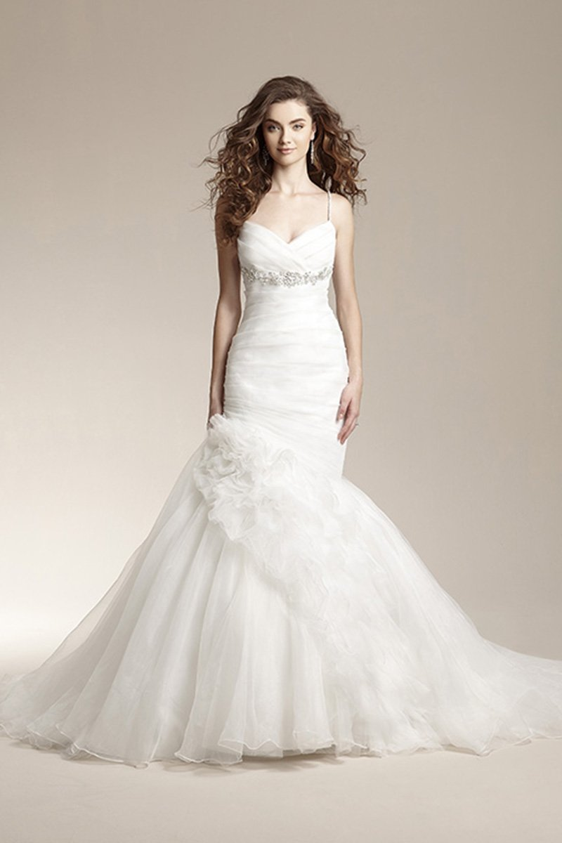 Wedding Dresses, Sweetheart Wedding Dresses, Mermaid Wedding Dresses, Romantic Wedding Dresses, Fashion, white, Fall, Winter, Shabby Chic, Romantic, Sweetheart, Spaghetti straps, Beading, Tulle, Floor, Organza, Natural, Sleeveless, Ruching, Jasmine collection, Avant-Garde, Mermaid/Trumpet, Beaded Wedding Dresses, organza wedding dresses, trumpet wedding dresses, tulle wedding dresses, winter wedding dresses, Fall Wedding Dresses, Spahetti Strap Wedding Dresses, Floor Wedding Dresses, Shabby Chic Wedding Dresses