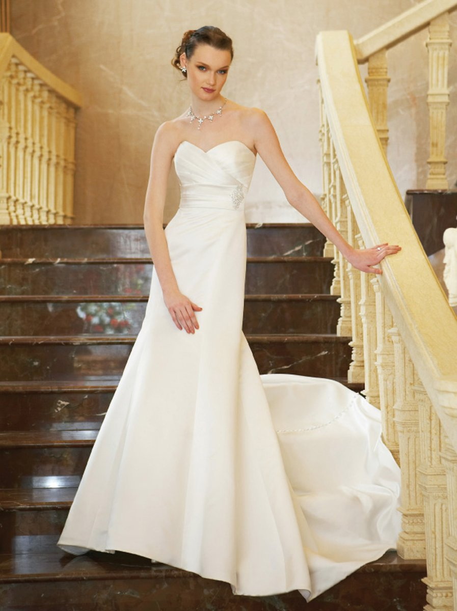 Wedding Dresses, Sweetheart Wedding Dresses, A-line Wedding Dresses, Vintage Wedding Dresses, Fashion, white, ivory, gold, Vintage, Classic, Sweetheart, Strapless, Strapless Wedding Dresses, A-line, Beading, Empire, Satin, Floor, Pleats, Sleeveless, Jasmine collection, Beaded Wedding Dresses, Classic Wedding Dresses, satin wedding dresses, Floor Wedding Dresses