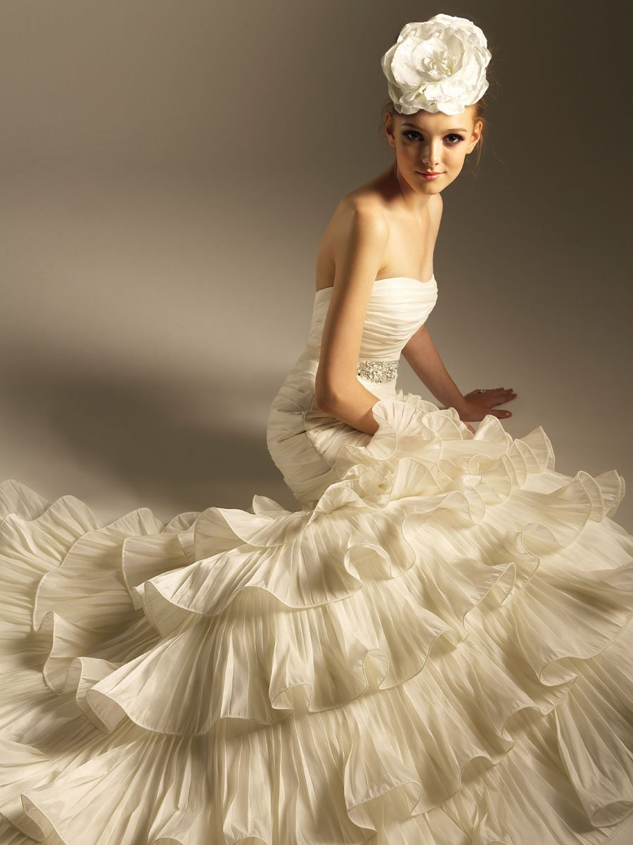 Wedding Dresses, Sweetheart Wedding Dresses, Mermaid Wedding Dresses, Ruffled Wedding Dresses, Fashion, white, ivory, Sweetheart, Strapless, Strapless Wedding Dresses, Beading, Floor, Ruffles, Taffeta, Pleats, Sleeveless, Jasmine collection, Avant-Garde, Mermaid/Trumpet, Fit-n-Flare, Beaded Wedding Dresses, taffeta wedding dresses, trumpet wedding dresses, Floor Wedding Dresses