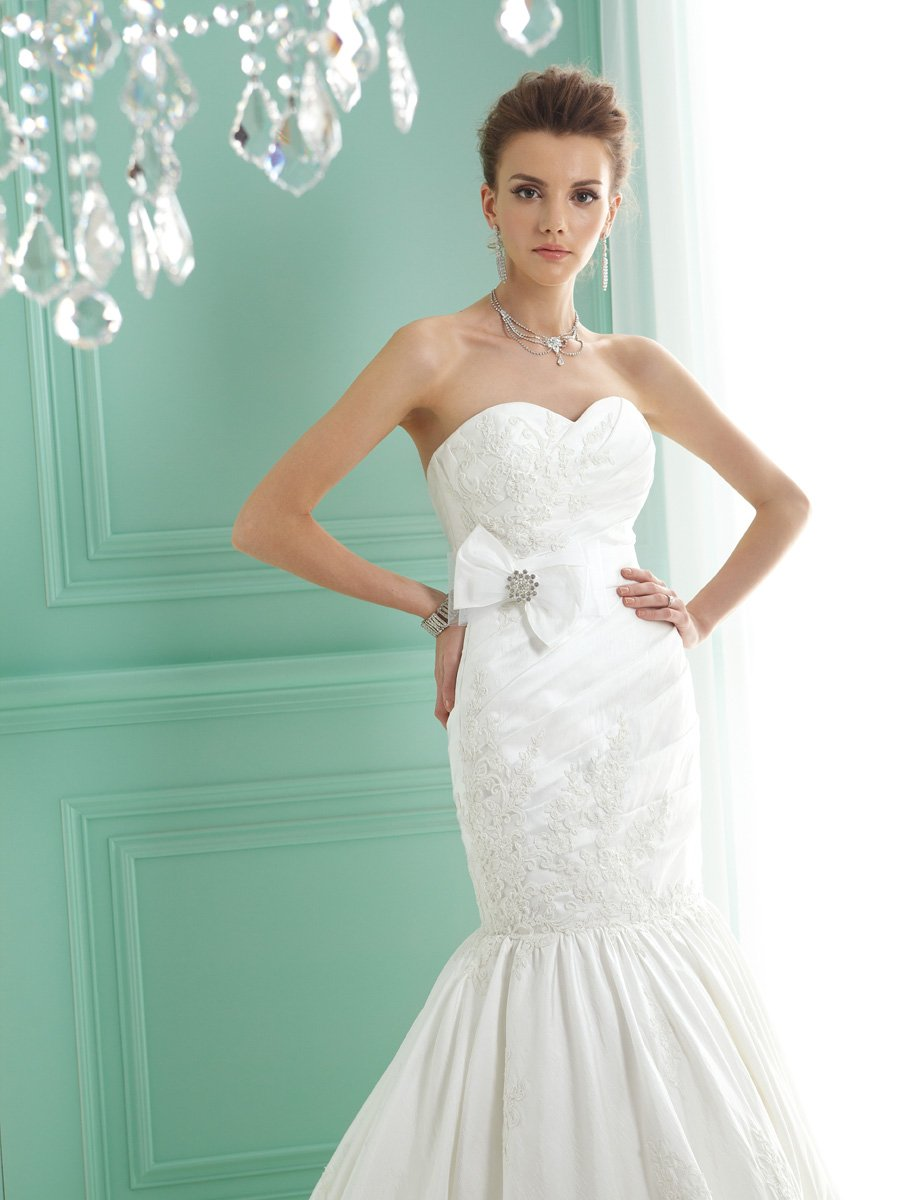 Wedding Dresses, Sweetheart Wedding Dresses, Mermaid Wedding Dresses, Lace Wedding Dresses, Fashion, white, ivory, Modern, Shabby Chic, Lace, Sweetheart, Strapless, Strapless Wedding Dresses, Floor, Taffeta, Sleeveless, Jasmine collection, Mermaid/Trumpet, Sash/Belt, Fit-n-Flare, Modern Wedding Dresses, taffeta wedding dresses, trumpet wedding dresses, Floor Wedding Dresses, Shabby Chic Wedding Dresses, Sash Wedding Dresses, Belt Wedding Dresses