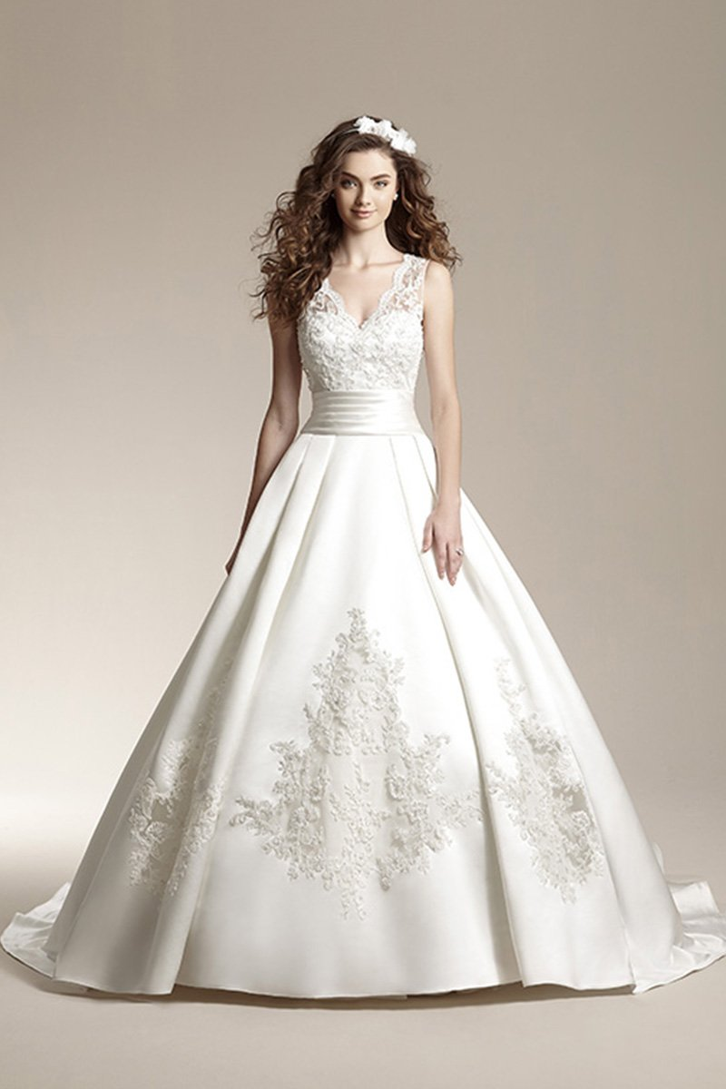 Wedding Dresses, Ball Gown Wedding Dresses, Lace Wedding Dresses, Romantic Wedding Dresses, Fashion, ivory, Fall, Winter, Classic, Romantic, Lace, V-neck, V-neck Wedding Dresses, Satin, Floor, Formal, Natural, Sleeveless, Ball gown, Jasmine collection, Avant-Garde, Classic Wedding Dresses, winter wedding dresses, satin wedding dresses, Fall Wedding Dresses, Formal Wedding Dresses, Floor Wedding Dresses