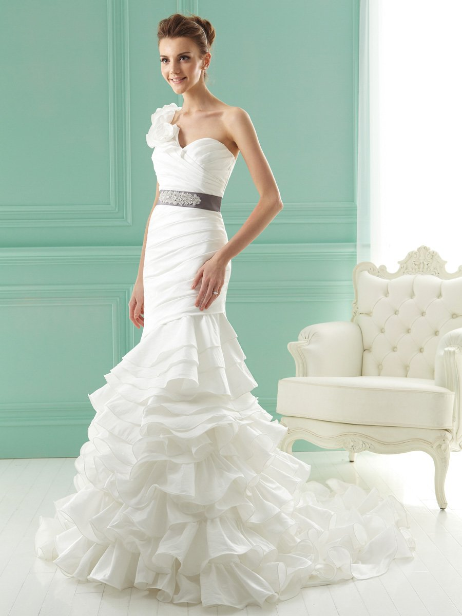 Wedding Dresses, Sweetheart Wedding Dresses, One-Shoulder Wedding Dresses, Mermaid Wedding Dresses, Ruffled Wedding Dresses, Fashion, ivory, gray, Sweetheart, Beading, Short, Sheath, Floor, Organza, Ruffles, Tiers, Hip, Sleeveless, Jasmine collection, One-shoulder, Mermaid/Trumpet, Sash/Belt, Short Wedding Dresses, Beaded Wedding Dresses, organza wedding dresses, trumpet wedding dresses, Sheath Wedding Dresses, Floor Wedding Dresses, Hip Wedding Dresses, Sash Wedding Dresses, Belt Wedding Dresses, Tiered Wedding Dresses