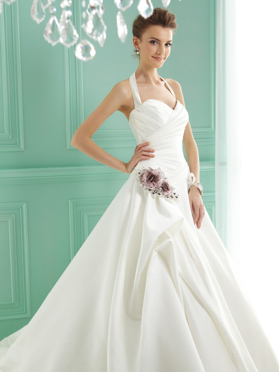 Wedding Dresses, Sweetheart Wedding Dresses, A-line Wedding Dresses, Romantic Wedding Dresses, Fashion, white, ivory, pink, Classic, Flowers, Romantic, Sweetheart, A-line, Beading, Halter, Satin, Floor, Formal, Pleats, Sleeveless, Jasmine collection, halter wedding dresses, Beaded Wedding Dresses, Classic Wedding Dresses, satin wedding dresses, Flower Wedding Dresses, Formal Wedding Dresses, Floor Wedding Dresses