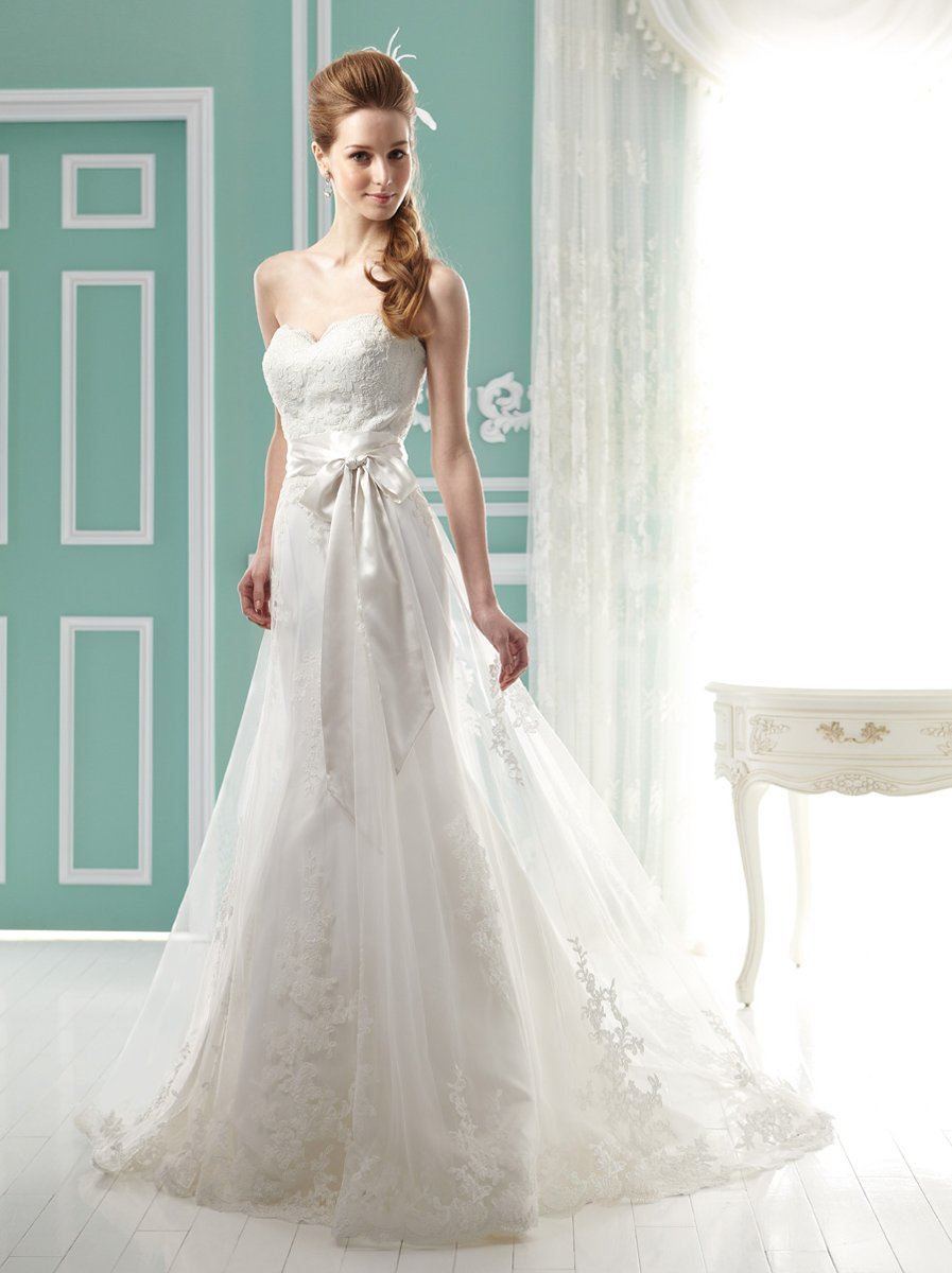 Wedding Dresses, Sweetheart Wedding Dresses, A-line Wedding Dresses, Lace Wedding Dresses, Romantic Wedding Dresses, Fashion, white, ivory, Classic, Romantic, Lace, Sweetheart, Strapless, Strapless Wedding Dresses, A-line, Tulle, Floor, Formal, Sleeveless, Jasmine collection, Sash/Belt, Classic Wedding Dresses, tulle wedding dresses, Formal Wedding Dresses, Floor Wedding Dresses, Sash Wedding Dresses, Belt Wedding Dresses