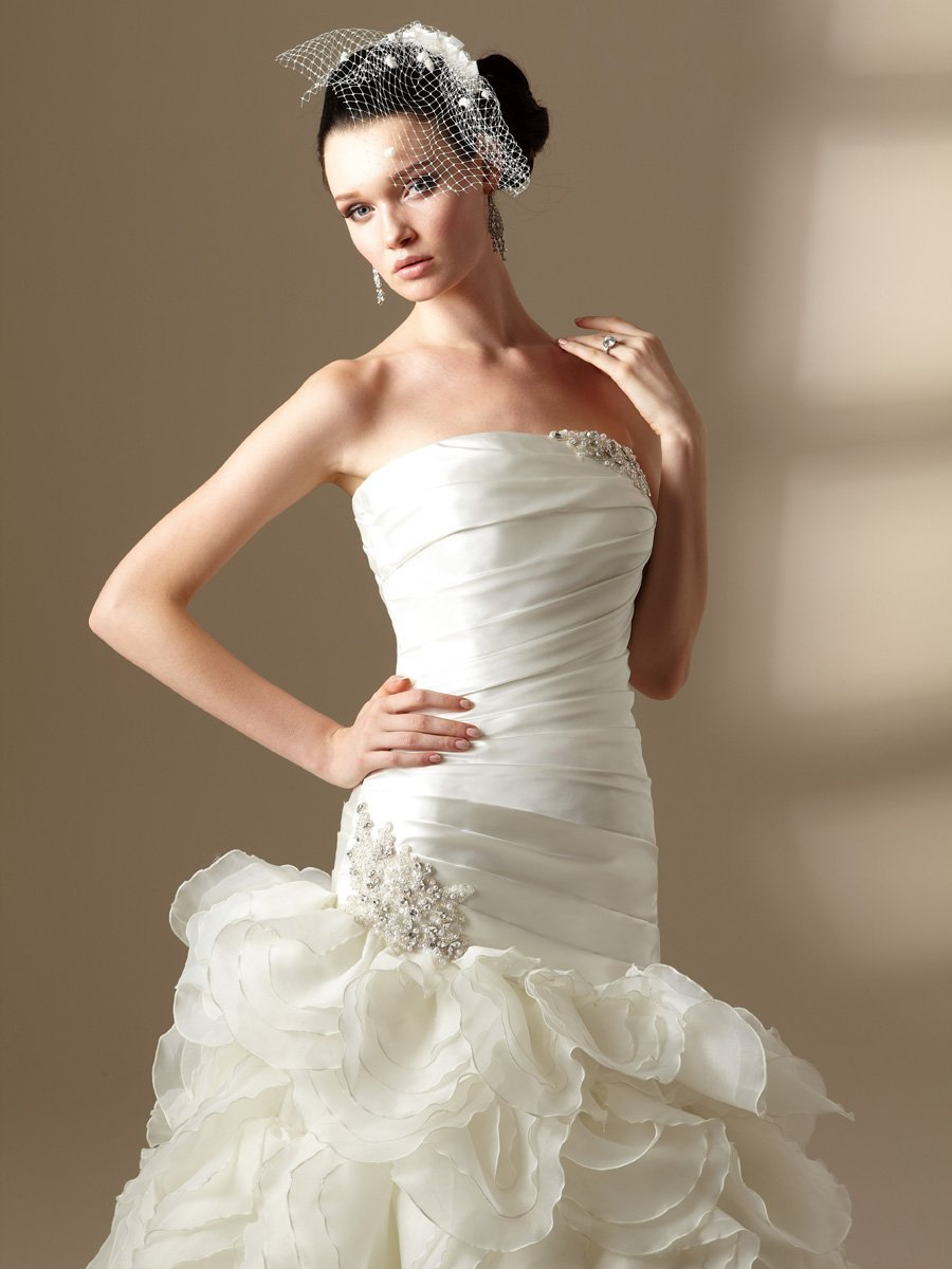 Wedding Dresses, Sweetheart Wedding Dresses, Ball Gown Wedding Dresses, Ruffled Wedding Dresses, Fashion, white, ivory, Sweetheart, Strapless, Strapless Wedding Dresses, Satin, Floor, Organza, Ruffles, Dropped, Sleeveless, Ball gown, Jasmine couture, Avant-Garde, organza wedding dresses, satin wedding dresses, Floor Wedding Dresses
