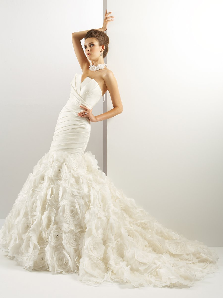 Wedding Dresses, Sweetheart Wedding Dresses, Mermaid Wedding Dresses, Ruffled Wedding Dresses, Hollywood Glam Wedding Dresses, Fashion, white, ivory, Sweetheart, Strapless, Strapless Wedding Dresses, Floor, Ruffles, Taffeta, Pleats, Sleeveless, Jasmine couture, Mermaid/Trumpet, Fit-n-Flare, hollywood glam, taffeta wedding dresses, trumpet wedding dresses, Floor Wedding Dresses