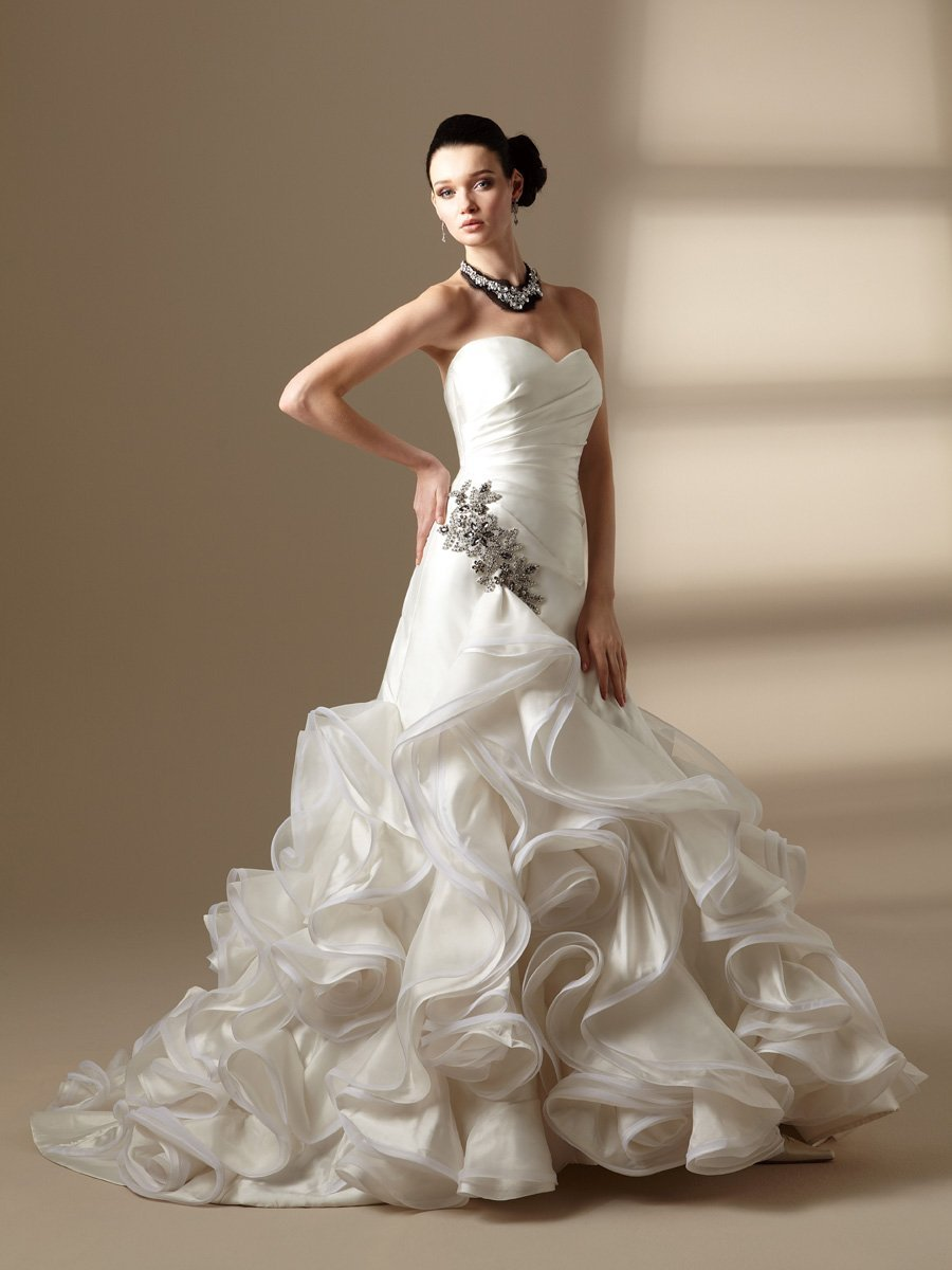 Wedding Dresses, Sweetheart Wedding Dresses, A-line Wedding Dresses, Ruffled Wedding Dresses, Hollywood Glam Wedding Dresses, Fashion, white, ivory, Sweetheart, Strapless, Strapless Wedding Dresses, A-line, Beading, Floor, Ruffles, Taffeta, Sleeveless, Ruching, Jasmine couture, hollywood glam, Beaded Wedding Dresses, taffeta wedding dresses, Floor Wedding Dresses
