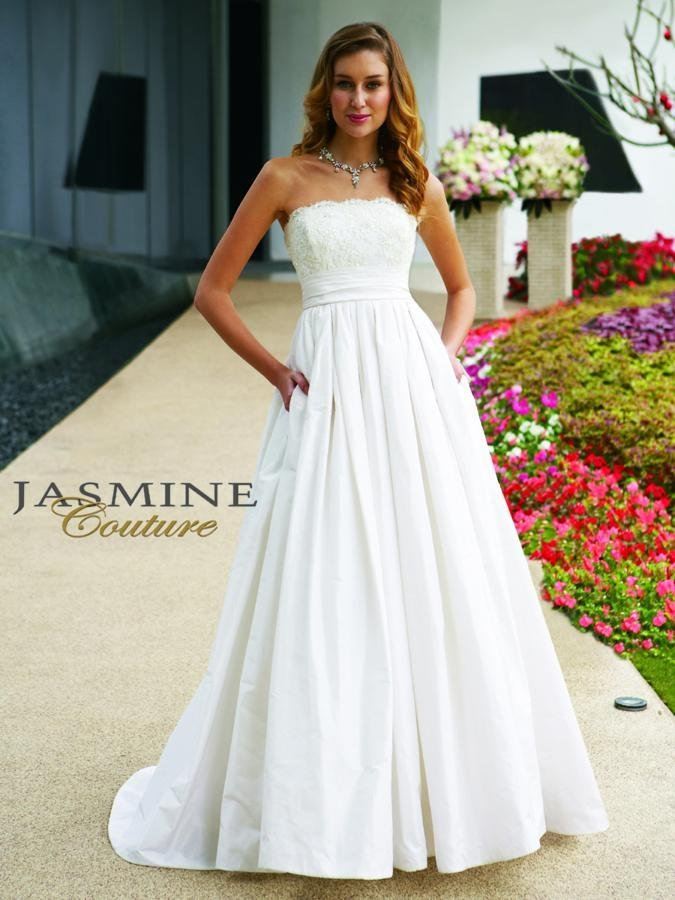 Wedding Dresses, Sweetheart Wedding Dresses, A-line Wedding Dresses, Lace Wedding Dresses, Fashion, white, ivory, Rustic, Lace, Sweetheart, Strapless, Strapless Wedding Dresses, A-line, Beading, Empire, Floor, Silk, Taffeta, Informal, Sleeveless, Jasmine couture, rustic wedding dresses, Beaded Wedding Dresses, taffeta wedding dresses, Silk Wedding Dresses, Informal Wedding Dresses, Floor Wedding Dresses