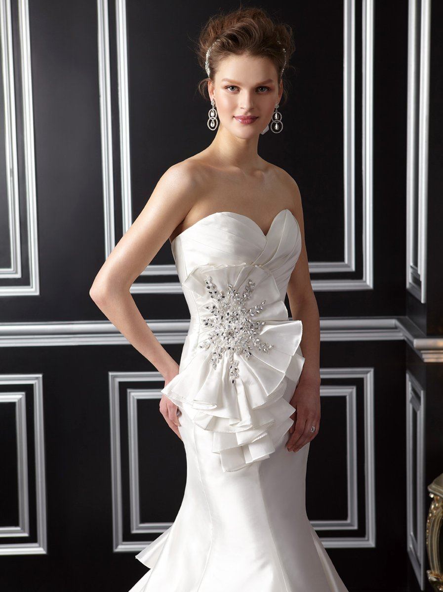 Wedding Dresses, Sweetheart Wedding Dresses, Mermaid Wedding Dresses, Ruffled Wedding Dresses, Fashion, white, ivory, Modern, Flowers, Sweetheart, Strapless, Strapless Wedding Dresses, Beading, Floor, Ruffles, Taffeta, Sleeveless, Jasmine couture, Mermaid/Trumpet, Fit-n-Flare, Modern Wedding Dresses, Beaded Wedding Dresses, taffeta wedding dresses, trumpet wedding dresses, Flower Wedding Dresses, Floor Wedding Dresses