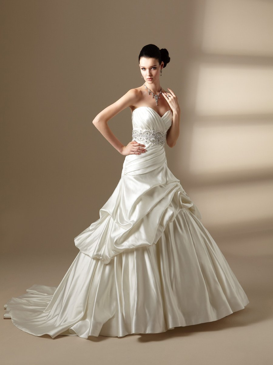 Wedding Dresses, Sweetheart Wedding Dresses, A-line Wedding Dresses, Romantic Wedding Dresses, Fashion, white, ivory, Romantic, Sweetheart, Strapless, Strapless Wedding Dresses, A-line, Beading, Satin, Floor, Formal, Organza, Pick-ups, Sleeveless, Jasmine couture, Sash/Belt, Beaded Wedding Dresses, organza wedding dresses, satin wedding dresses, Formal Wedding Dresses, Floor Wedding Dresses, Sash Wedding Dresses, Belt Wedding Dresses