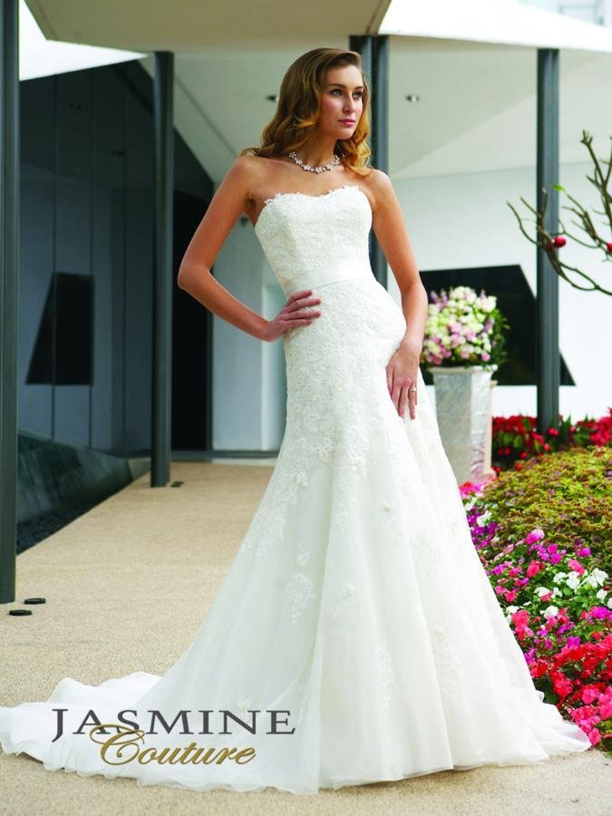 Wedding Dresses, Sweetheart Wedding Dresses, A-line Wedding Dresses, Lace Wedding Dresses, Romantic Wedding Dresses, Fashion, white, ivory, Romantic, Lace, Sweetheart, Strapless, Strapless Wedding Dresses, A-line, Satin, Floor, Formal, Silk, Sleeveless, Jasmine couture, satin wedding dresses, Formal Wedding Dresses, Silk Wedding Dresses, Floor Wedding Dresses