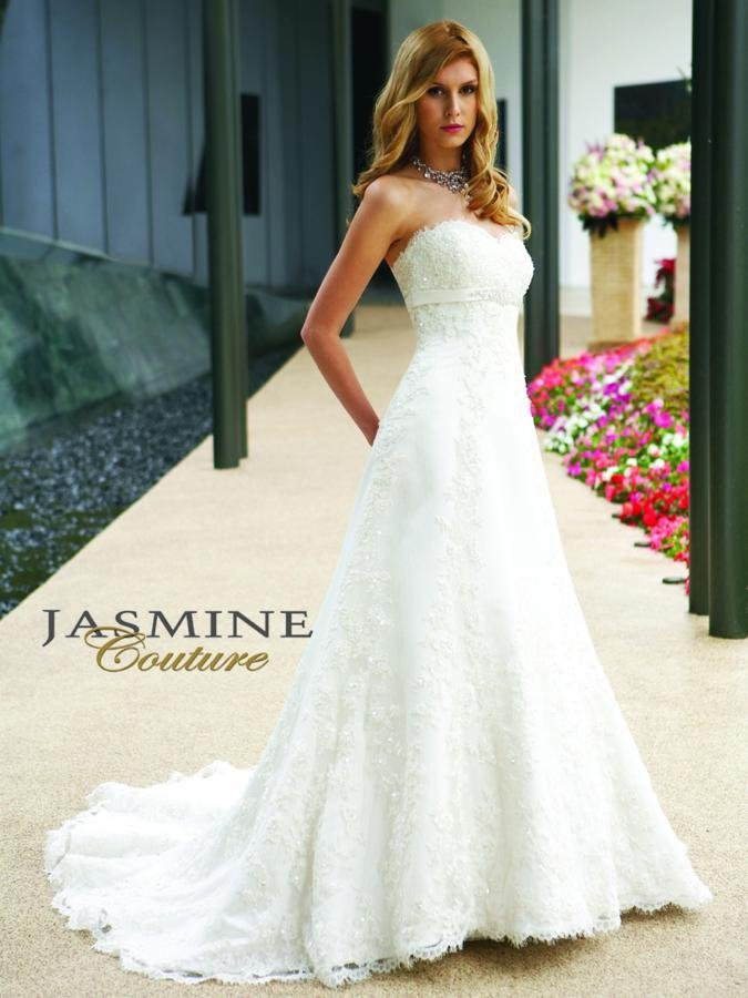 Wedding Dresses, Sweetheart Wedding Dresses, A-line Wedding Dresses, Lace Wedding Dresses, Fashion, white, ivory, Classic, Lace, Sweetheart, Strapless, Strapless Wedding Dresses, A-line, Beading, Empire, Satin, Floor, Formal, Sleeveless, Jasmine couture, Beaded Wedding Dresses, Classic Wedding Dresses, satin wedding dresses, Formal Wedding Dresses, Floor Wedding Dresses