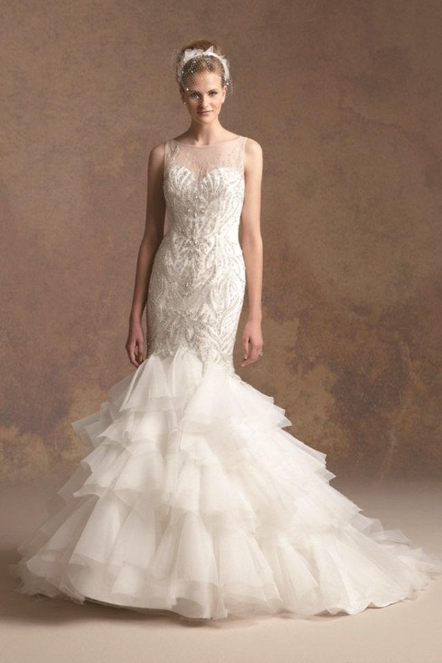Wedding Dresses, Sweetheart Wedding Dresses, Mermaid Wedding Dresses, Ruffled Wedding Dresses, Romantic Wedding Dresses, Fashion, ivory, Fall, Winter, Romantic, Sweetheart, Beading, Tulle, Floor, Formal, Organza, Natural, Ruffles, Tiers, Sleeveless, Jasmine couture, Avant-Garde, Mermaid/Trumpet, Beaded Wedding Dresses, organza wedding dresses, trumpet wedding dresses, tulle wedding dresses, winter wedding dresses, Fall Wedding Dresses, Formal Wedding Dresses, Floor Wedding Dresses, Tiered Wedding Dresses