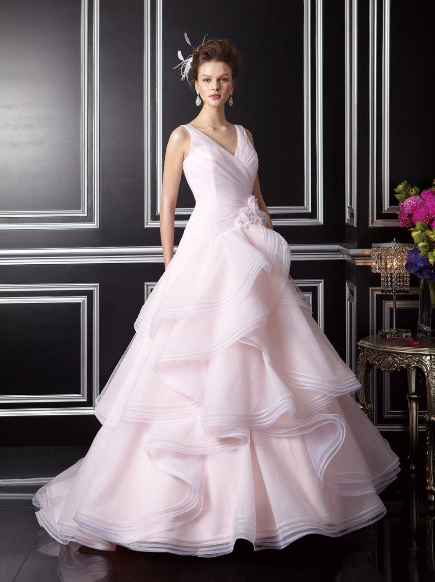 Wedding Dresses, Ball Gown Wedding Dresses, Ruffled Wedding Dresses, Fashion, pink, V-neck, V-neck Wedding Dresses, Tulle, Floor, Ruffles, Ball gown, Jasmine couture, tulle wedding dresses, Floor Wedding Dresses
