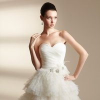 Wedding Dresses, Sweetheart Wedding Dresses, A-line Wedding Dresses, Ruffled Wedding Dresses, Fashion, white, ivory, Sweetheart, Strapless, Strapless Wedding Dresses, A-line, Beading, Empire, Short, Tulle, Ruffles, Informal, Sleeveless, Ruching, Jasmine couture, Short Wedding Dresses, Beaded Wedding Dresses, tulle wedding dresses, Informal Wedding Dresses