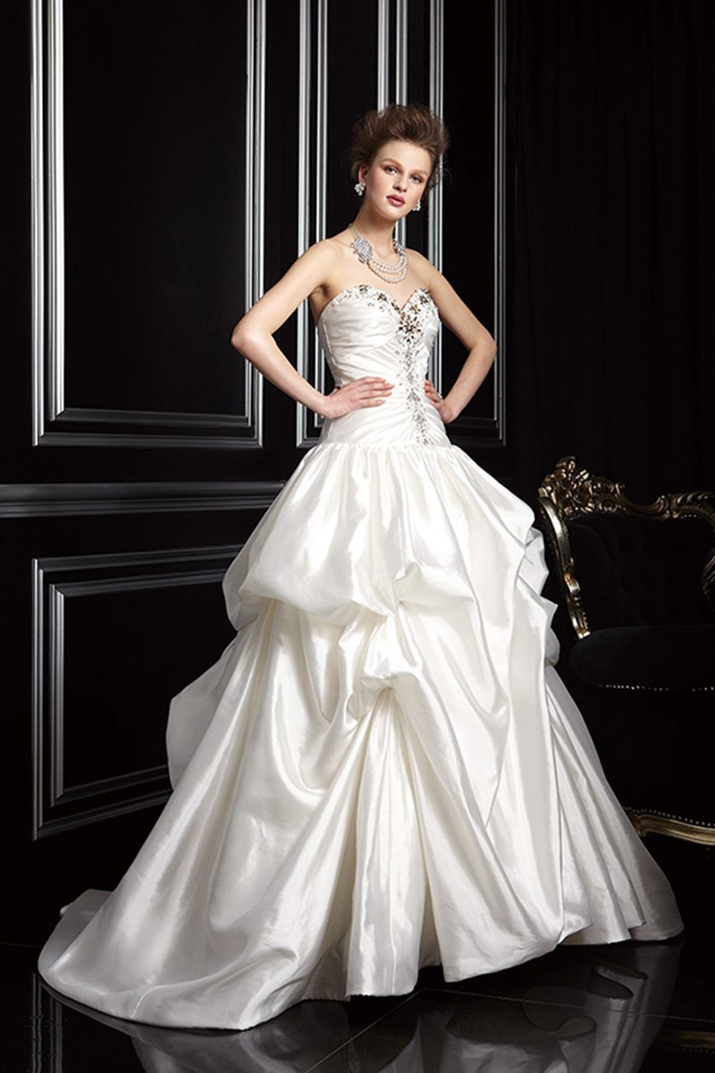 Wedding Dresses, Sweetheart Wedding Dresses, A-line Wedding Dresses, Fashion, white, Flowers, Sweetheart, Strapless, Strapless Wedding Dresses, A-line, Beading, Ruching, Jasmine couture, Beaded Wedding Dresses, teirs, Flower Wedding Dresses