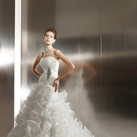 Wedding Dresses, Sweetheart Wedding Dresses, A-line Wedding Dresses, Ruffled Wedding Dresses, Fashion, white, ivory, Sweetheart, Strapless, Strapless Wedding Dresses, A-line, Beading, Floor, Organza, Ruffles, Sleeveless, Jasmine couture, Avant-Garde, Beaded Wedding Dresses, organza wedding dresses, Floor Wedding Dresses