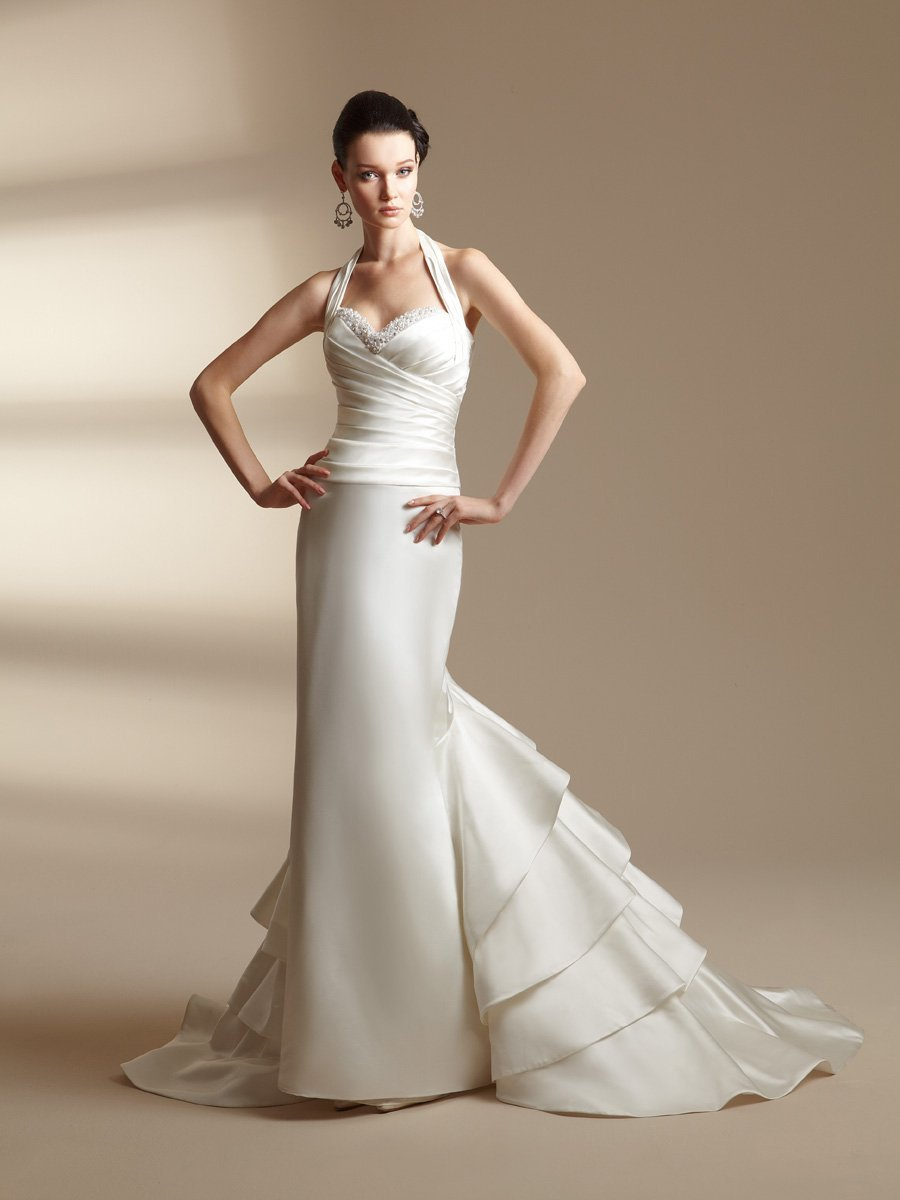 Wedding Dresses, Sweetheart Wedding Dresses, Ruffled Wedding Dresses, Fashion, white, ivory, silver, gold, Modern, Sweetheart, Beading, Halter, Sheath, Satin, Floor, Ruffles, Pleats, Sleeveless, Jasmine couture, Modern Wedding Dresses, halter wedding dresses, Beaded Wedding Dresses, satin wedding dresses, Sheath Wedding Dresses, Floor Wedding Dresses
