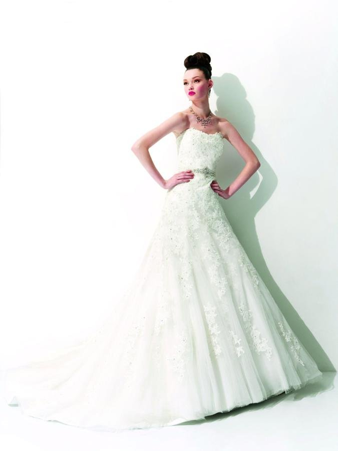 Wedding Dresses, Sweetheart Wedding Dresses, A-line Wedding Dresses, Lace Wedding Dresses, Romantic Wedding Dresses, Fashion, white, ivory, Romantic, Lace, Sweetheart, Strapless, Strapless Wedding Dresses, A-line, Beading, Tulle, Satin, Floor, Formal, Sleeveless, Jasmine couture, Beaded Wedding Dresses, tulle wedding dresses, satin wedding dresses, Formal Wedding Dresses, Floor Wedding Dresses