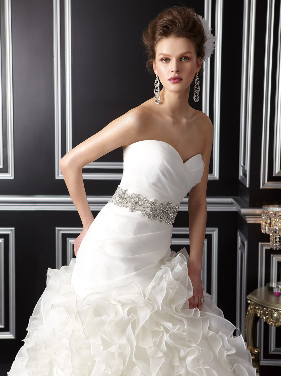 Wedding Dresses, Sweetheart Wedding Dresses, Mermaid Wedding Dresses, Ruffled Wedding Dresses, Hollywood Glam Wedding Dresses, Fashion, white, ivory, Sweetheart, Strapless, Strapless Wedding Dresses, Floor, Organza, Ruffles, Sleeveless, Jasmine couture, Mermaid/Trumpet, Sash/Belt, Fit-n-Flare, hollywood glam, organza wedding dresses, trumpet wedding dresses, Floor Wedding Dresses, Sash Wedding Dresses, Belt Wedding Dresses