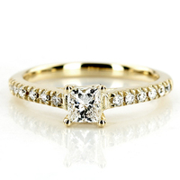 Jewelry, Women's Rings, Yellow Gold, Engagement Rings, Princess Cut Engagement Ring