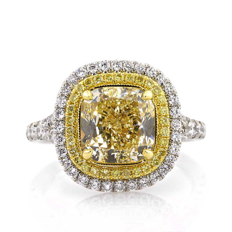 Jewelry, Women's Rings, White Gold, Platinum, Engagement Rings, Cushion Cut Engagement Ring, Cushion, Yellow Diamonds, Cushion Cuts