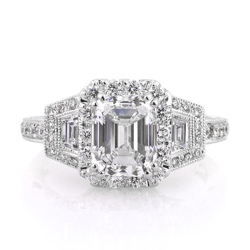 Jewelry, Women's Rings, White Gold, Platinum, Engagement Rings, Emerald Cut Engagement Ring, Emerald