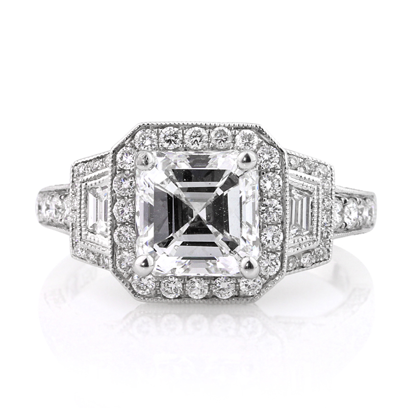 Jewelry, Women's Rings, White Gold, Platinum, Engagement Rings, Asscher Cut Engagement Ring
