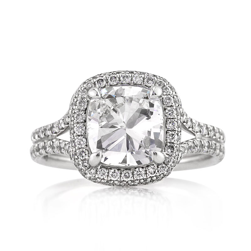 Jewelry, Women's Rings, White Gold, Platinum, Engagement Rings, Cushion Cut Engagement Ring
