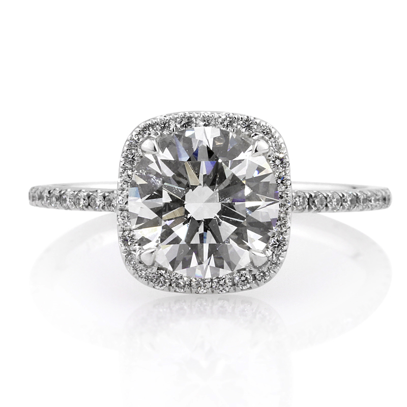 Jewelry, Women's Rings, White Gold, Platinum, Engagement Rings, Radiant Cut Engagement Ring, Diamond rings, Round Diamonds