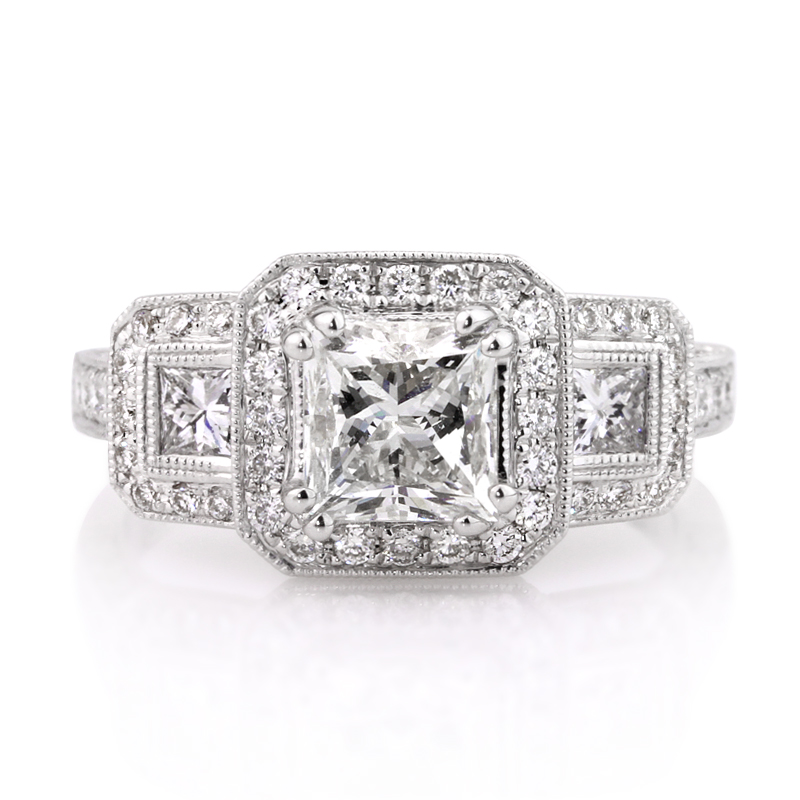 Jewelry, Women's Rings, White Gold, Platinum, Engagement Rings, Princess Cut Engagement Ring