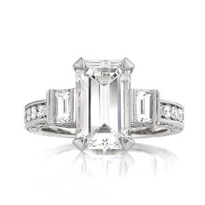 Jewelry, Women's Rings, White Gold, Platinum, Engagement Rings, Emerald Cut Engagement Ring, Emerald
