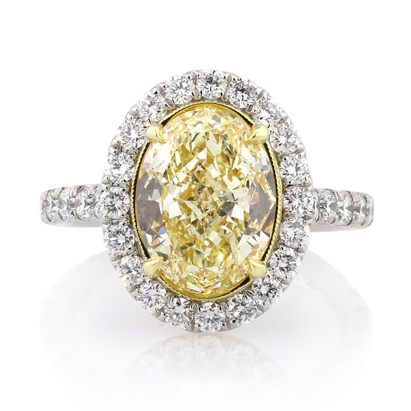 Jewelry, Women's Rings, White Gold, Platinum, Engagement Rings, Oval Cut Engagement Ring, Yellow diamond