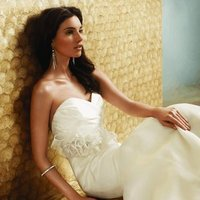 Wedding Dresses, Sweetheart Wedding Dresses, Fashion, Jim hjelm, Sweetheart, Strapless, Strapless Wedding Dresses, Natural waist, Ribbon, Trumpet, Satin, Bow, Organza, Silk, chapel train, draped bodice, organza wedding dresses, crystal detail, satin wedding dresses, Silk Wedding Dresses