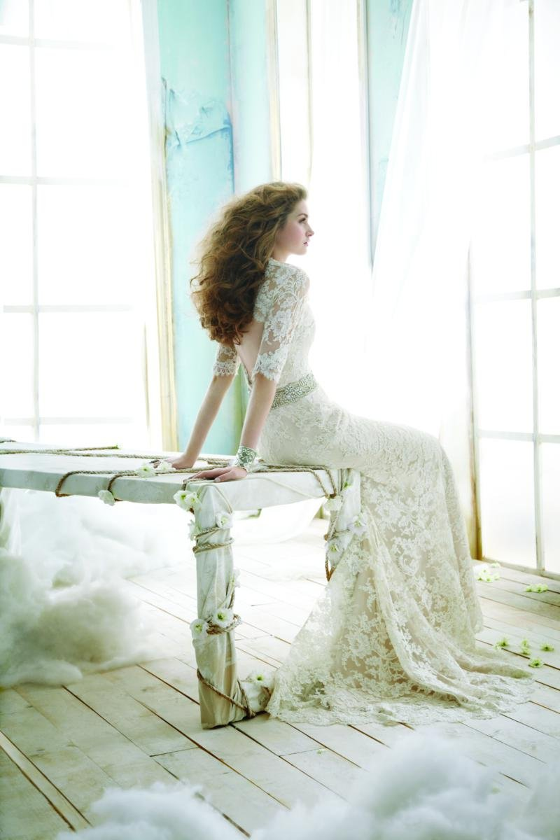 Wedding Dresses, Sweetheart Wedding Dresses, A-line Wedding Dresses, Lace Wedding Dresses, Vintage Wedding Dresses, Fashion, ivory, Vintage, Classic, Lace, Jim hjelm, Sweetheart, A-line, Beading, Sash, Belt, Floor, Charmeuse, 3/4 sleeve, Beaded Wedding Dresses, Classic Wedding Dresses, Floor Wedding Dresses