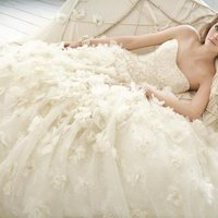 Wedding Dresses, Sweetheart Wedding Dresses, Ball Gown Wedding Dresses, Ruffled Wedding Dresses, Lace Wedding Dresses, Fashion, white, ivory, Flowers, Lace, Jim hjelm, Sweetheart, Strapless, Strapless Wedding Dresses, Beading, Floor, Chiffon, Organza, Ruffles, Dropped, Sleeveless, Ball gown, Avant-Garde, Beaded Wedding Dresses, organza wedding dresses, curved neckline, Flower Wedding Dresses, Chiffon Wedding Dresses, Floor Wedding Dresses