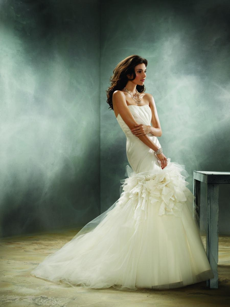 Wedding Dresses, Sweetheart Wedding Dresses, Fashion, white, ivory, Feathers, Rustic, Mermaid, Jim hjelm, Sweetheart, Strapless, Strapless Wedding Dresses, Tulle, Trumpet, Satin, Floor, Organza, Dropped, Sleeveless, floral detail, draped bodice, rustic wedding dresses, organza wedding dresses, tulle wedding dresses, satin wedding dresses, Feather Wedding Dresses, Floor Wedding Dresses